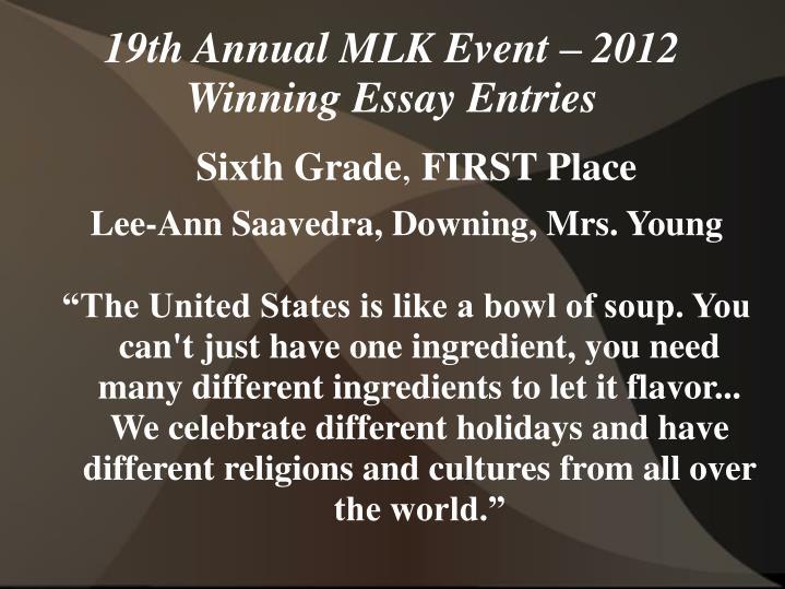 19th annual mlk event 2012 winning essay entries