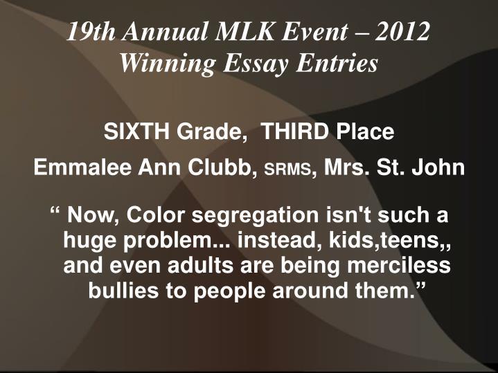 SIXTH Grade,  THIRD Place