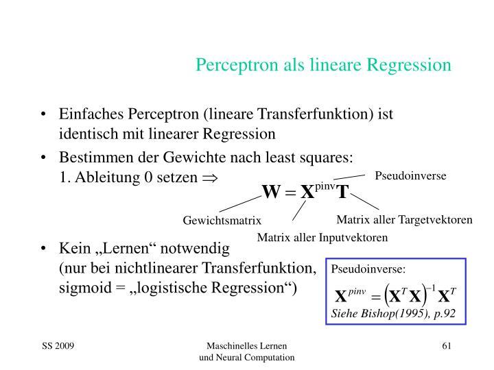 Perceptron als lineare regression
