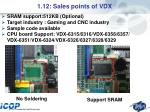 1 12 sales points of vdx