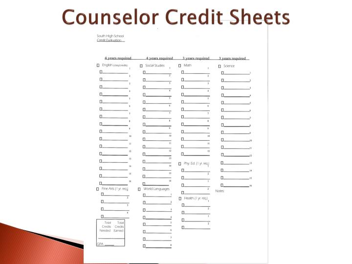 Counselor Credit Sheets