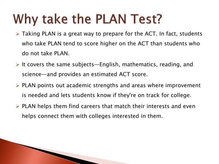 Why take the PLAN Test?