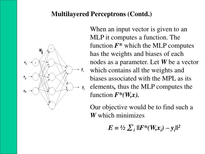 Multilayered Perceptrons (Contd.)
