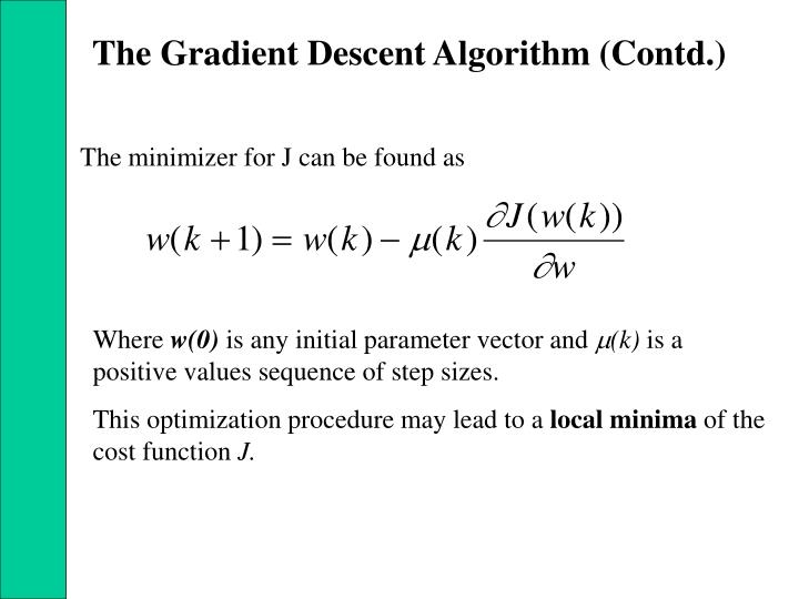The Gradient Descent Algorithm (Contd.)