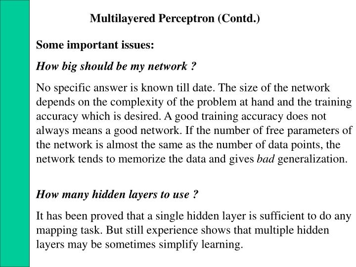 Multilayered Perceptron (Contd.)