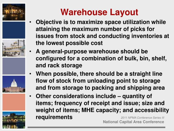 Objective is to maximize space utilization while attaining the maximum number of picks for issues from stock and conducting inventories at the lowest possible cost