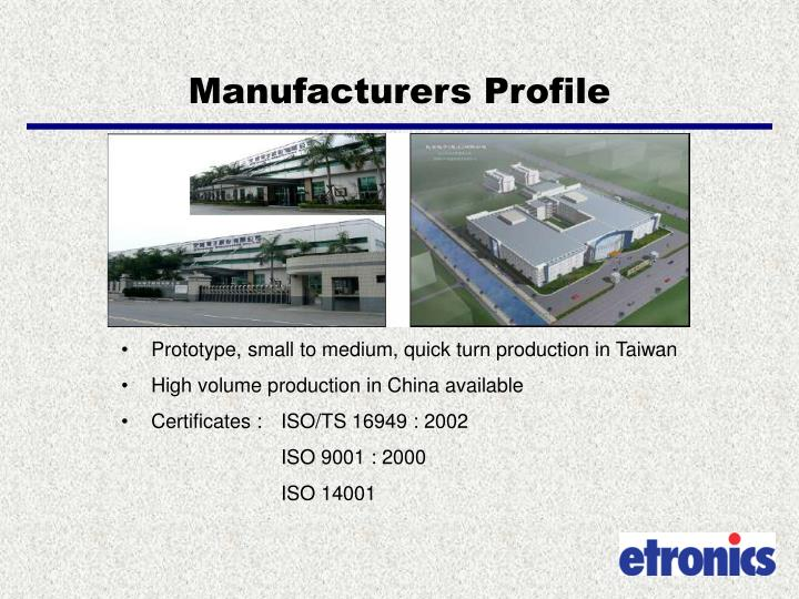 Manufacturers profile