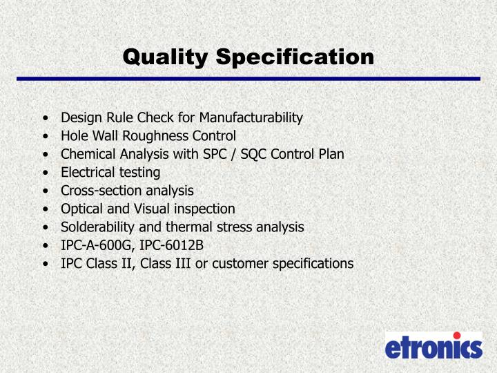 Quality Specification