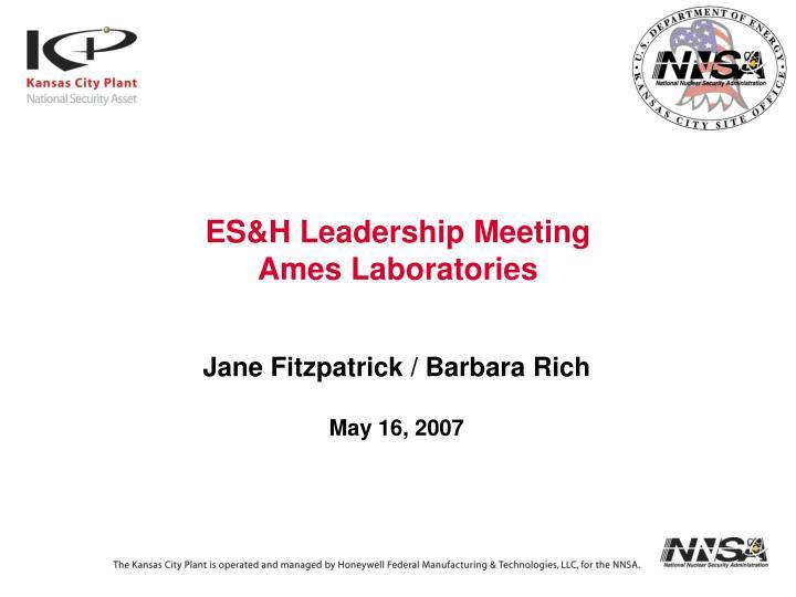 es h leadership meeting ames laboratories n.