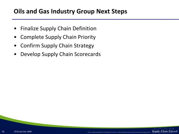 Oils and Gas Industry Group Next Steps