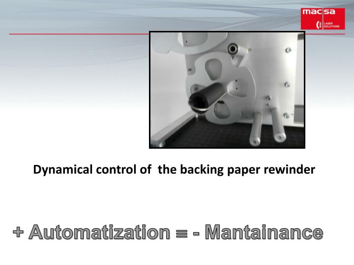 Dynamical control of  the backing paper rewinder