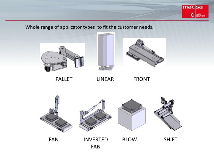 Whole range of applicator types  to fit the customer needs.