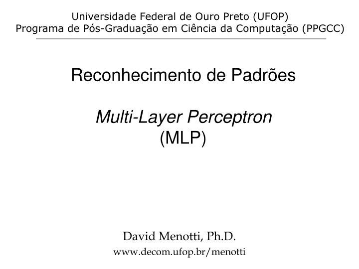 reconhecimento de padr es multi layer perceptron mlp n.