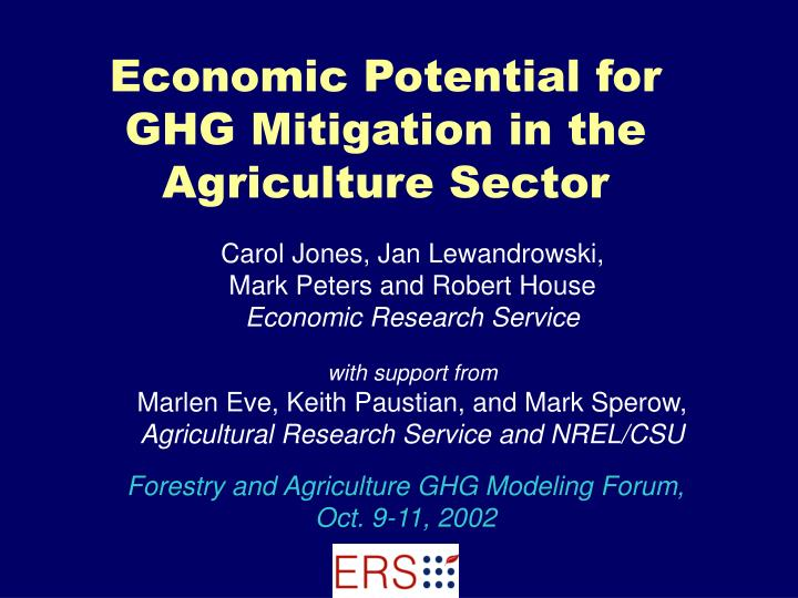economic potential for ghg mitigation in the agriculture sector n.