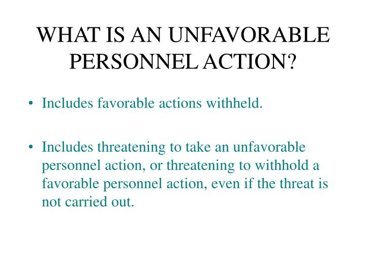 WHAT IS AN UNFAVORABLE PERSONNEL ACTION?