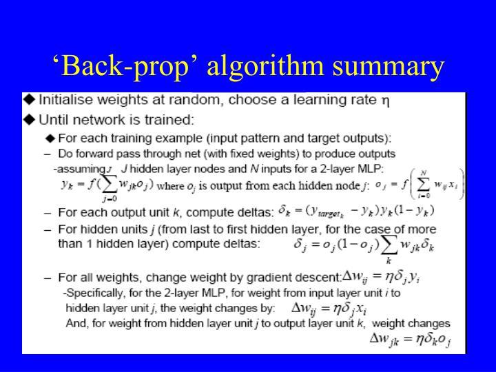 'Back-prop' algorithm summary