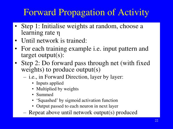 Forward Propagation of Activity