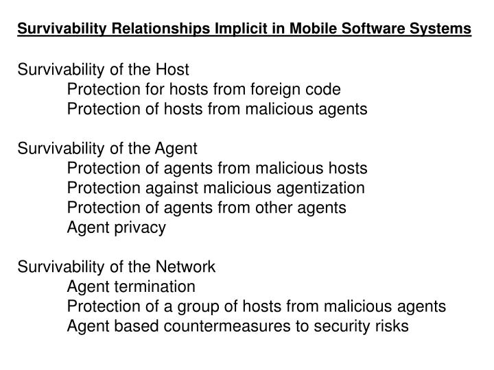 Survivability Relationships Implicit in Mobile Software Systems
