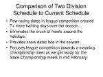 comparison of two division schedule to current schedule
