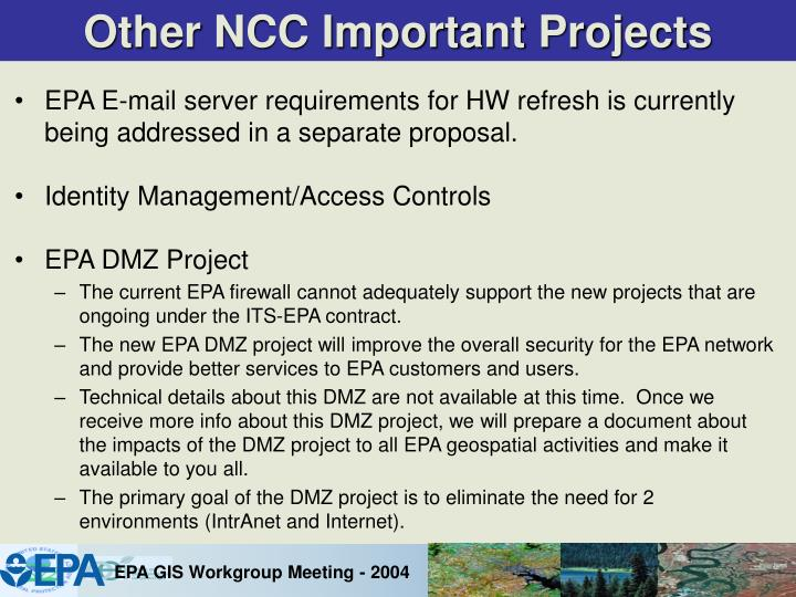 Other NCC Important Projects