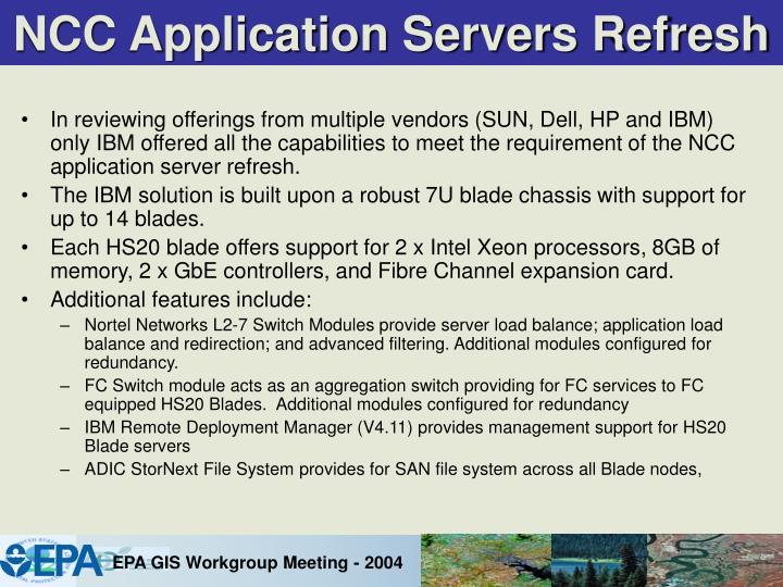 NCC Application Servers Refresh