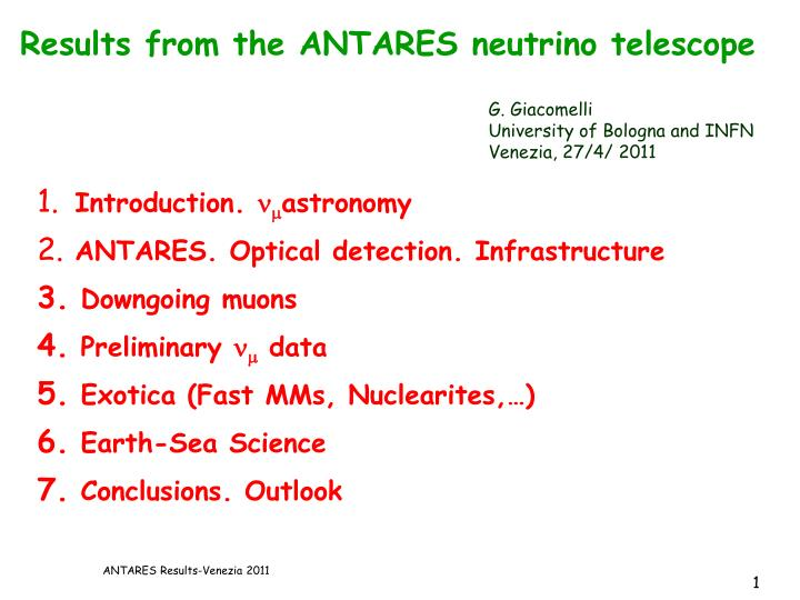 results from the antares neutrino telescope n.