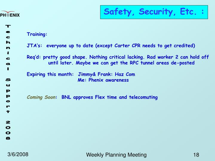 Safety, Security, Etc. :