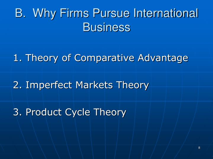 B.  Why Firms Pursue International Business