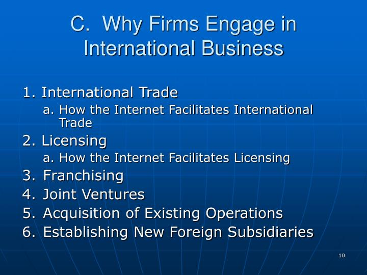 C.  Why Firms Engage in International Business