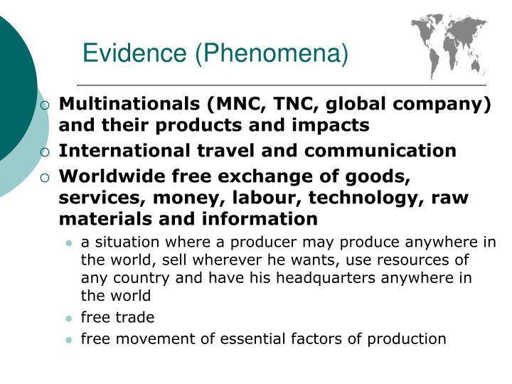 Evidence phenomena
