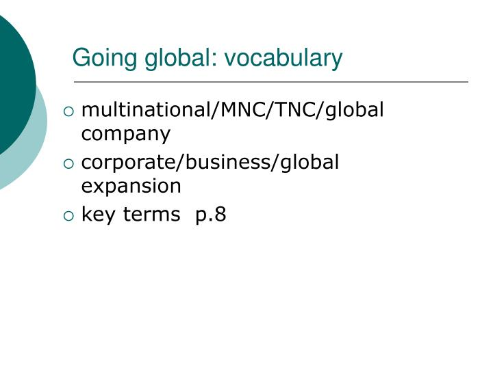 Going global: vocabulary
