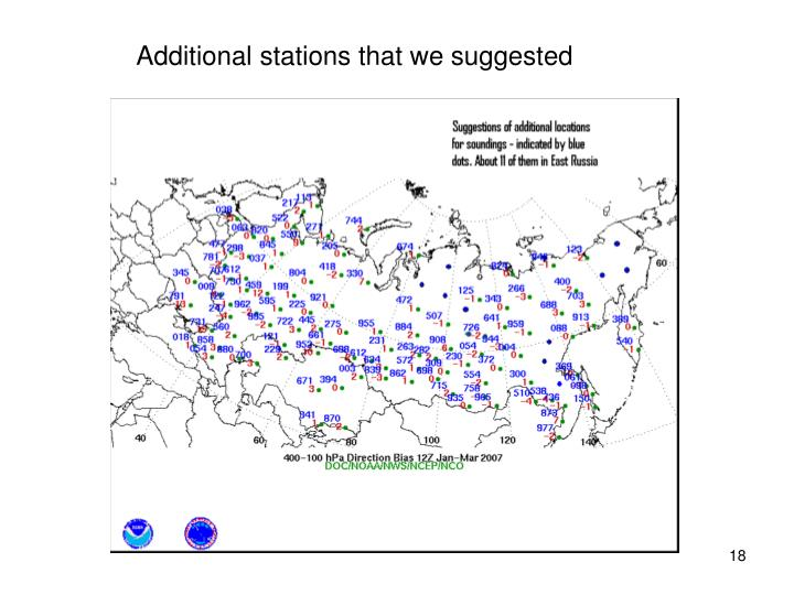 Additional stations that we suggested
