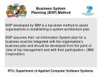 business system planning bsp method