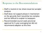 response to the recommendations