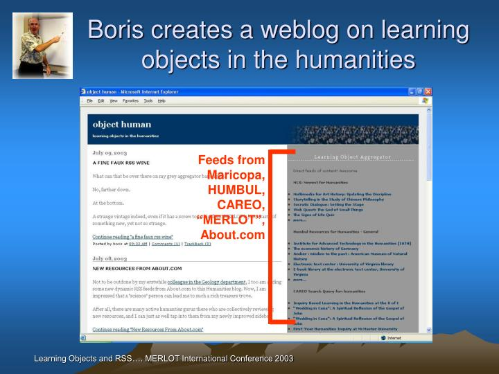 Boris creates a weblog on learning objects in the humanities