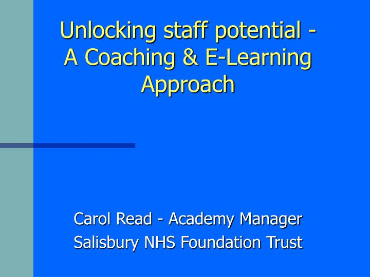 unlocking staff potential a coaching e learning approach n.