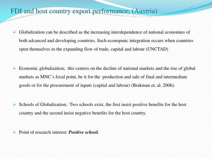 Fdi and host country export performance austria