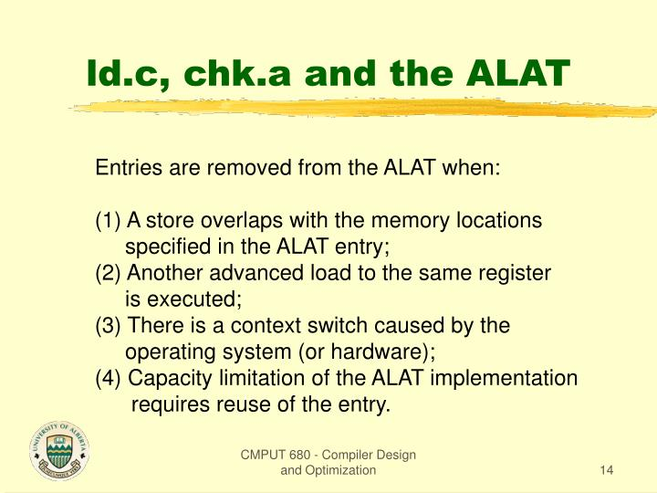 ld.c, chk.a and the ALAT