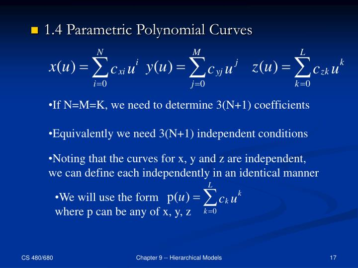 1.4 Parametric Polynomial Curves