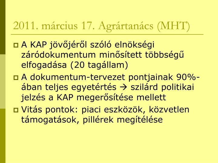 2011. március 17. Agrártanács (MHT)
