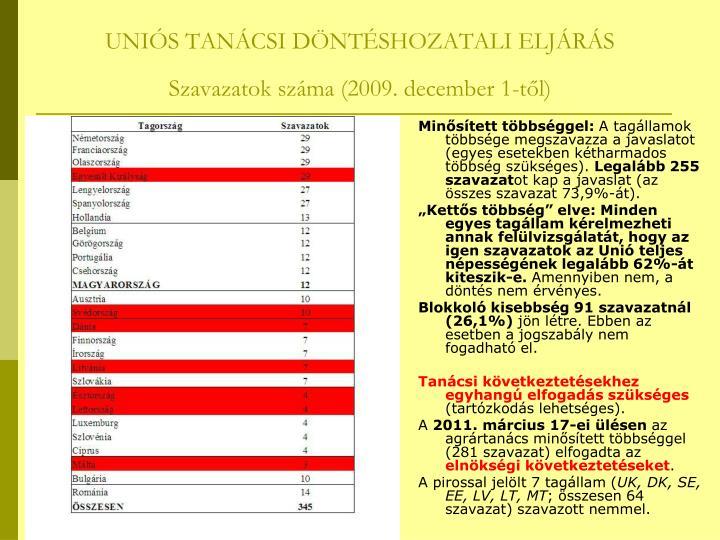 UNIÓS TANÁCSI DÖNTÉSHOZATALI ELJÁRÁS