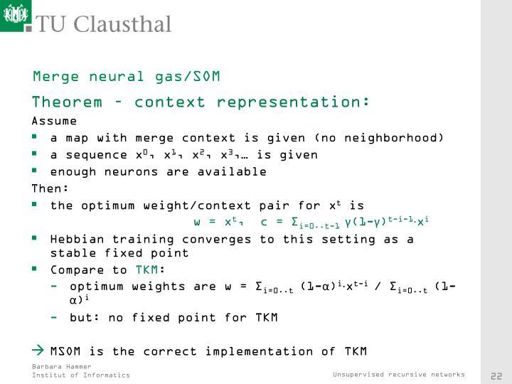 Merge neural gas/SOM