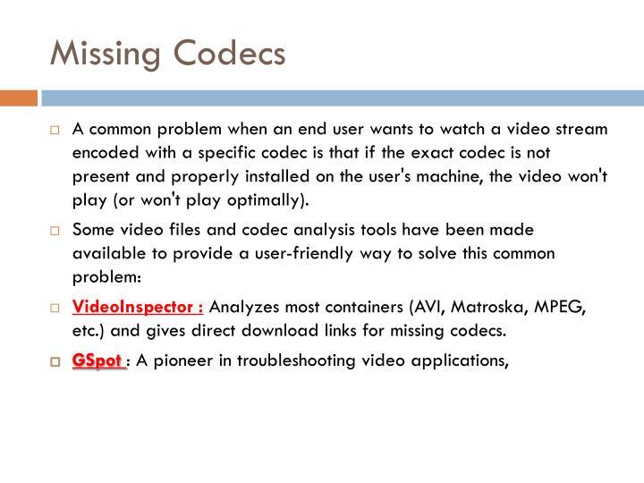 Missing Codecs