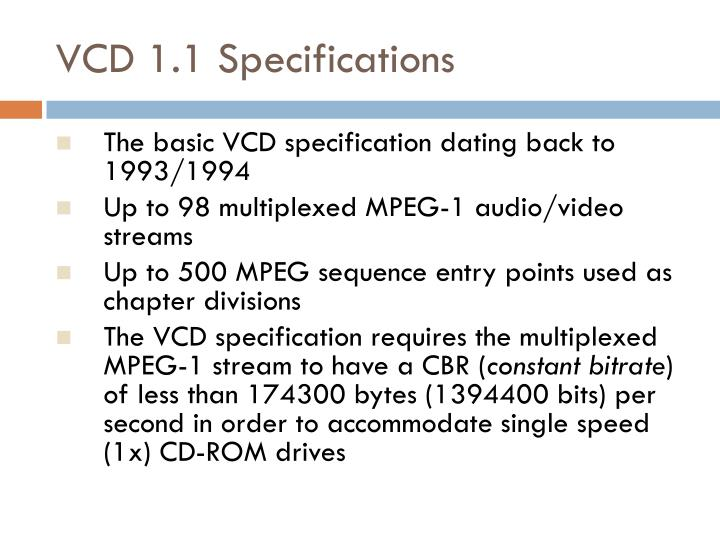 VCD 1.1 Specifications
