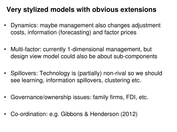 Very stylized models with obvious extensions