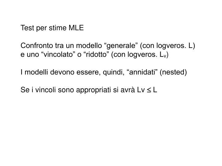 Test per stime MLE
