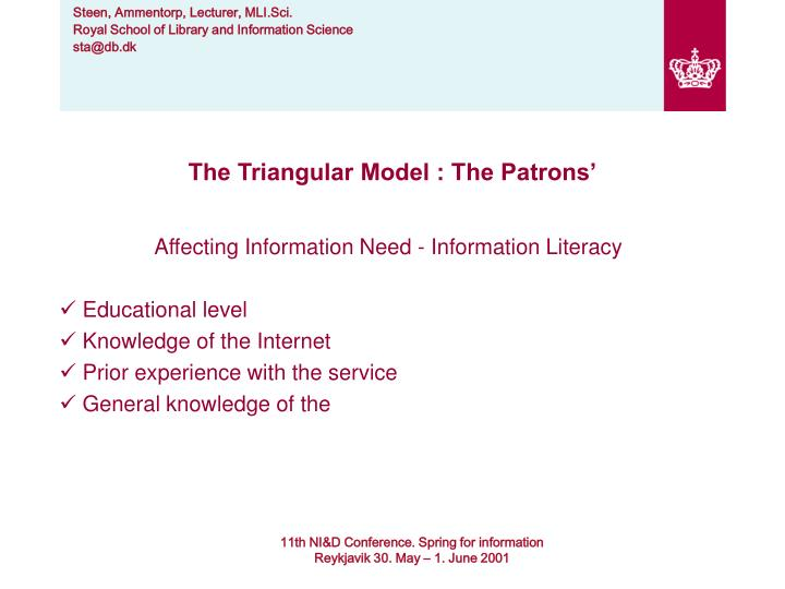 The Triangular Model : The Patrons'