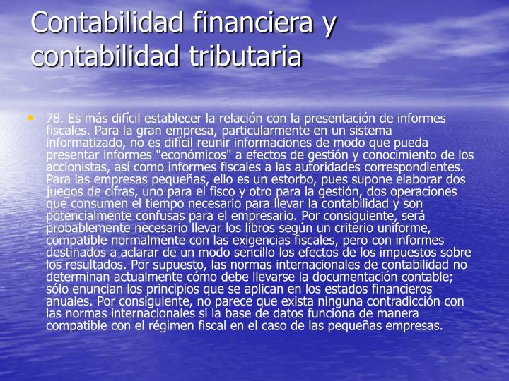 Contabilidad financiera y contabilidad tributaria