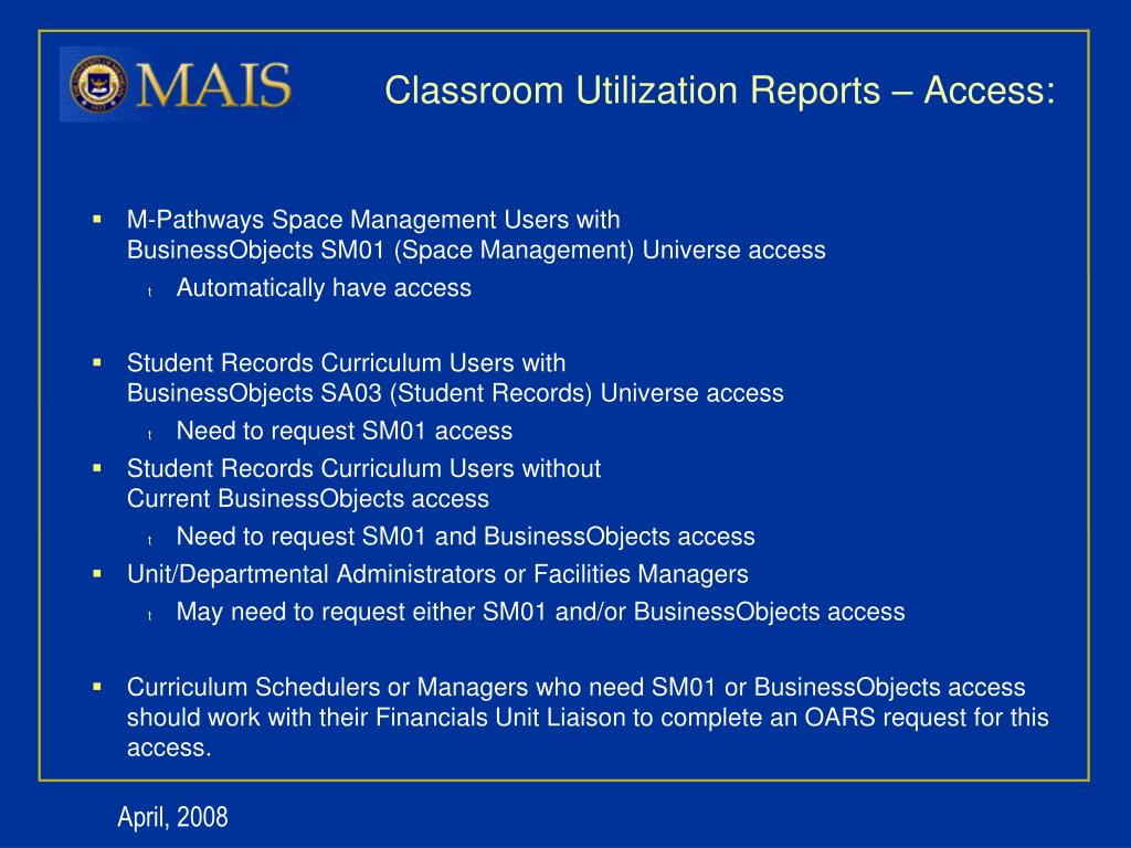 PPT - Space Management Classroom Utilization Data Warehouse