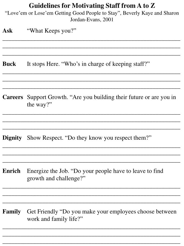 Guidelines for Motivating Staff from A to Z